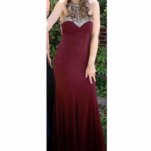 Macy's Prom Dress- Burgundy w/ Silver Jewel Design